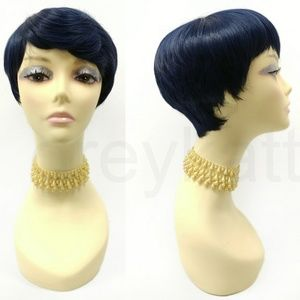 Blue Tapered Short Pixie Heat Resistant Wig